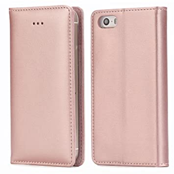 new concept d028b ff268 iPhone SE Leather Case,iPhone 5 Leather Case, IPHOX Premium Folio Leather  Wallet Case with [Kickstand] [Card Slots] [Magnetic Closure] Flip Notebook  ...