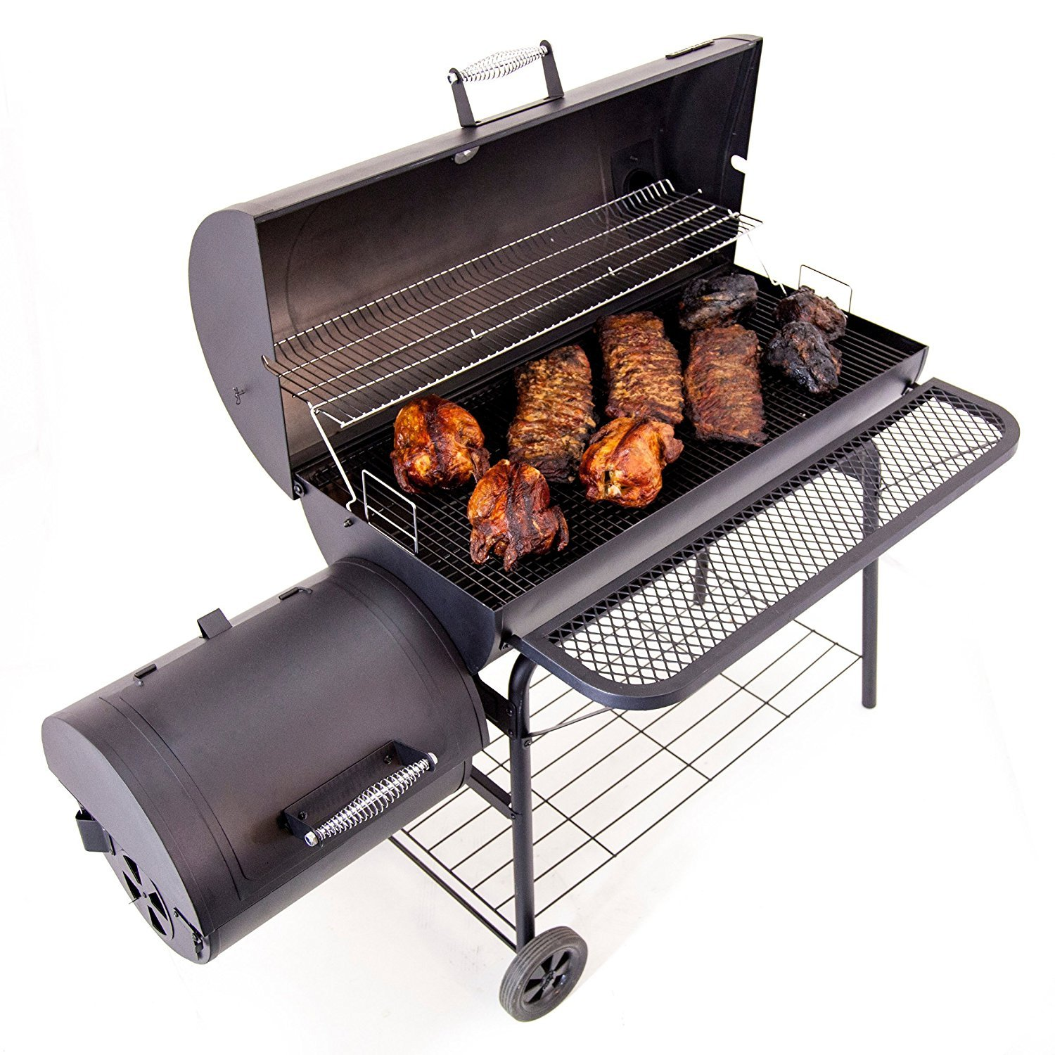 Most Popular Selling Professional Smoker Grill Barbecue With Portable Wheeled Cart- Full 670 Sq Inch Main Cooking Surface Porcelain Non-Stick Surface- 1280 Total Cooking Area Multiple Dampers Durable