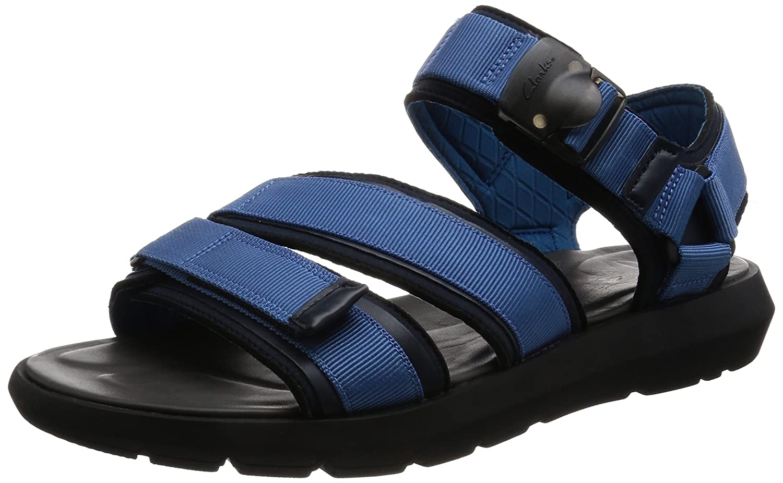 Clarks Vacaciones Hombre Sandalias Jacala Mag En Textil Azul 41 G EU