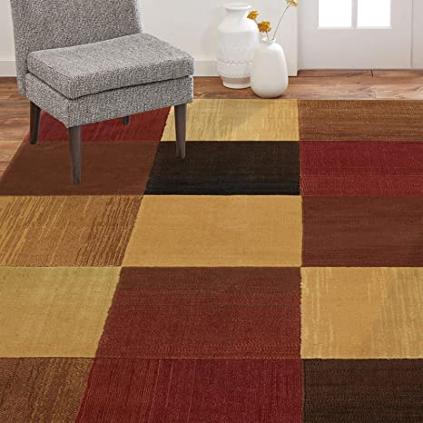 Amazon Com Home Dynamix Catalina Brookings Contemporary Modern Area Rug 3 3 X5 2 Geometric Brown Beige Orange Furniture Decor