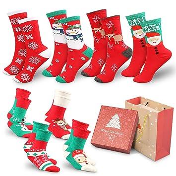 WOSTOO Calcetines de Navidad Lindo de algodón Animal de Dibujos Animados Reno de Santa Claus Antideslizante Unisex 8 Pares Calcetines de Navidad Regalos ...