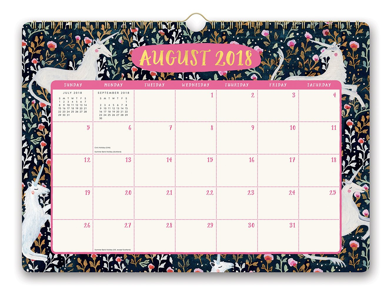 Orange Circle Studio 2019 Deluxe Wall Calendar, August 2018 - December 2019, Stay Magical Unicorns