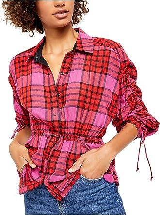 FREE PEOPLE Pacific Dawn Camisa de Cuadros para Mujer: Amazon ...
