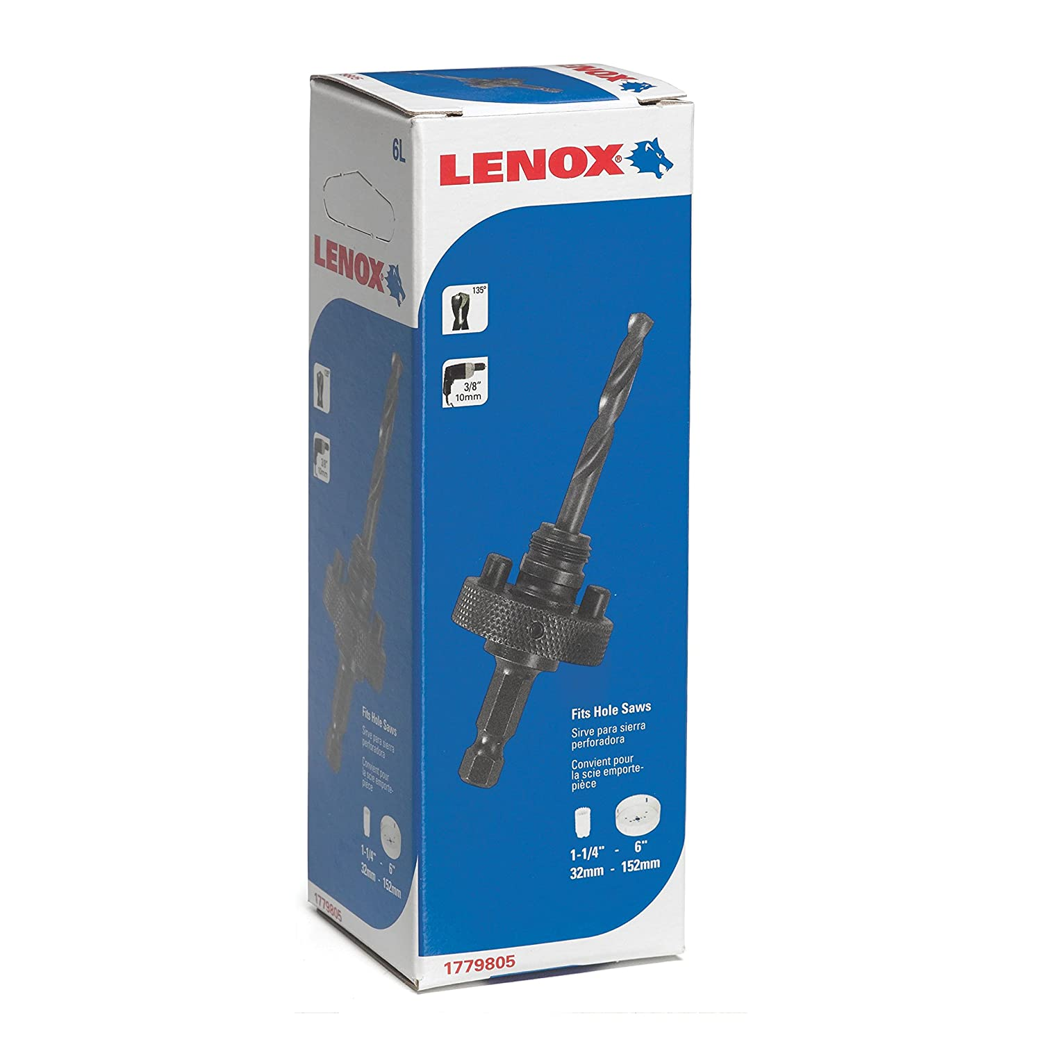 Lenox Tools 1779805 6L Quick Change Arbor with 3-1//4-Inch Pilot Drill Bit for Hole Saws