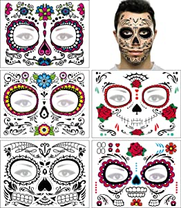 Day of the Dead Face Tattoo Halloween Makeup Tattoos Decor Stickers Sugar Skull Temporary Tattoo for Halloween Masquerade Party with Floral, Glitter Roses, Web and Floral Skeleton Design 5 PACK