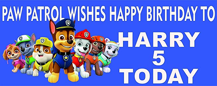 Paw Patrol Personalised Named Happy Birthday Banner Static Cling 3 Sizes Childrens Boys Girls