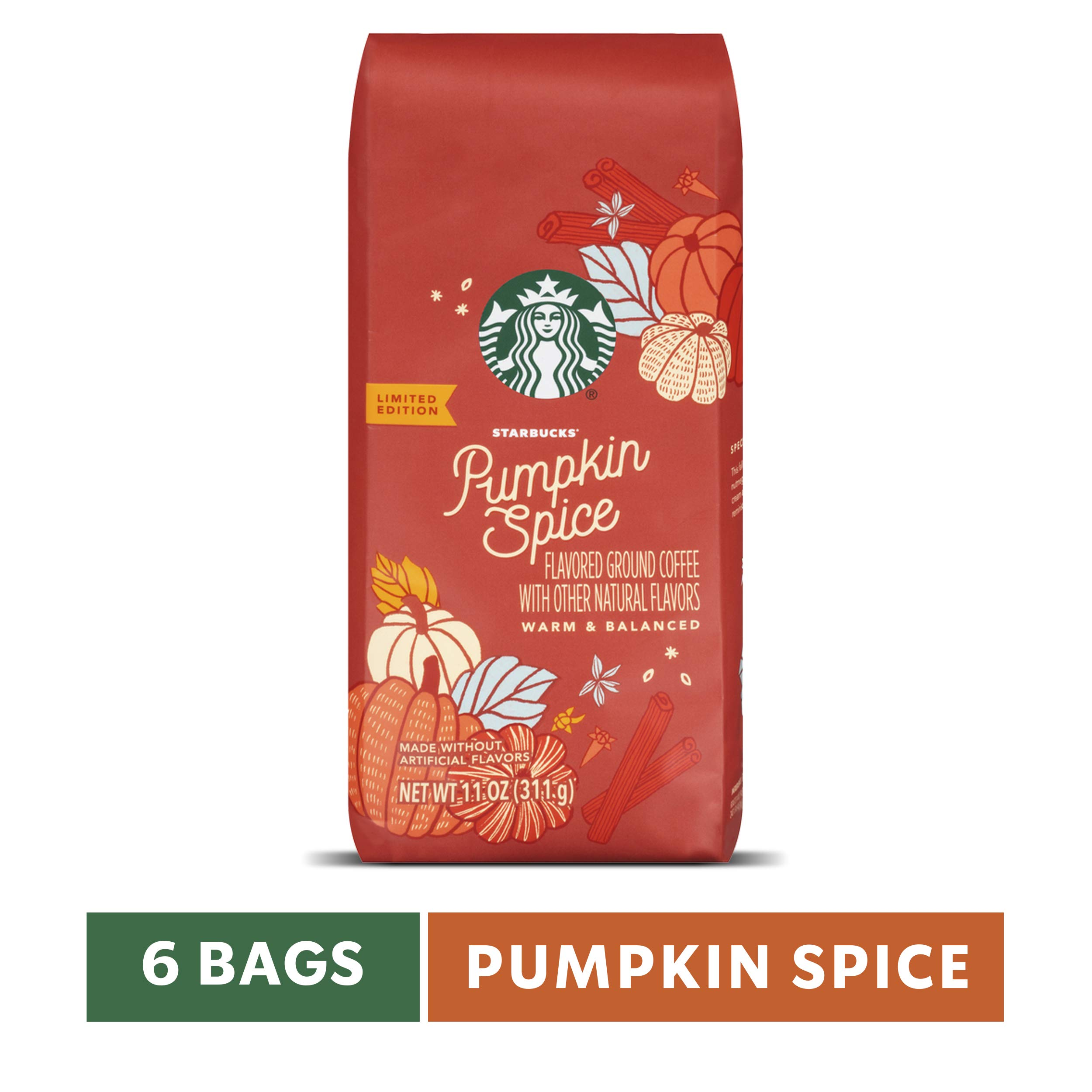 Starbucks Pumpkin Spice Flavored Ground Coffee, Six 11-oz. Bags by Starbucks