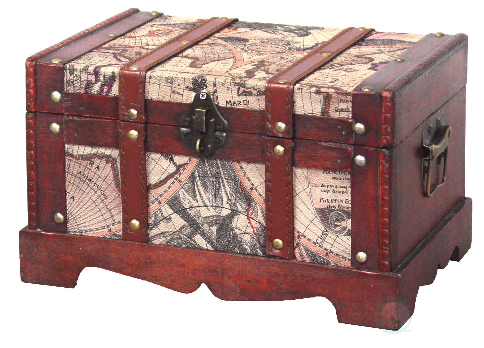 Vintiquewise QI003037.L Old World Map Wooden Trunk, Large Chest Only Only, Cherry by Vintiquewise