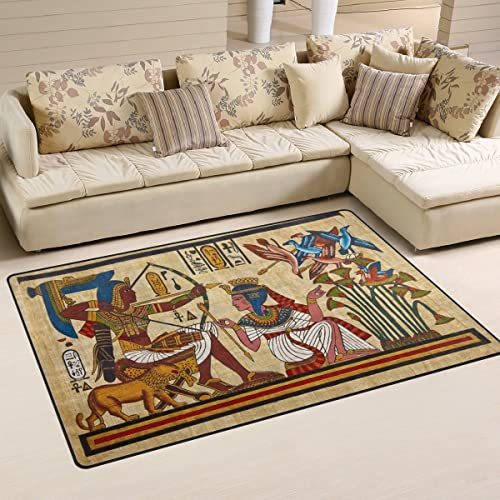 WOZO Antique Egyptian Papyrus and Hieroglyph Area Rug Rugs Non-Slip Floor Mat Doormat