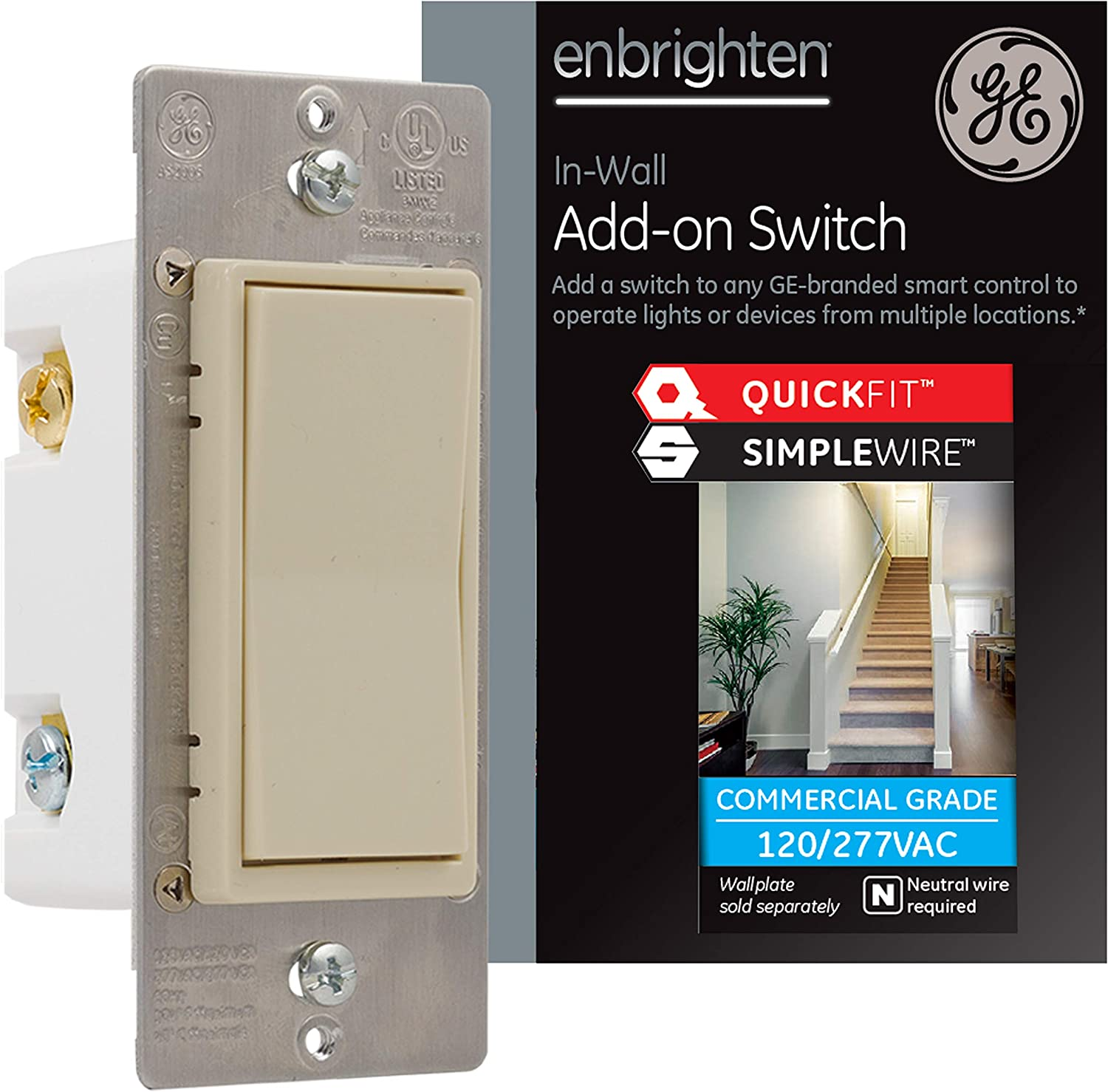 GE Enbrighten Add-On Switch with QuickFit and SimpleWire, GE Z-Wave/GE Zigbee Smart Lighting Controls, Works with Alexa, Google Assistant, NOT A STANDALONE SWITCH, Light Almond, 47333
