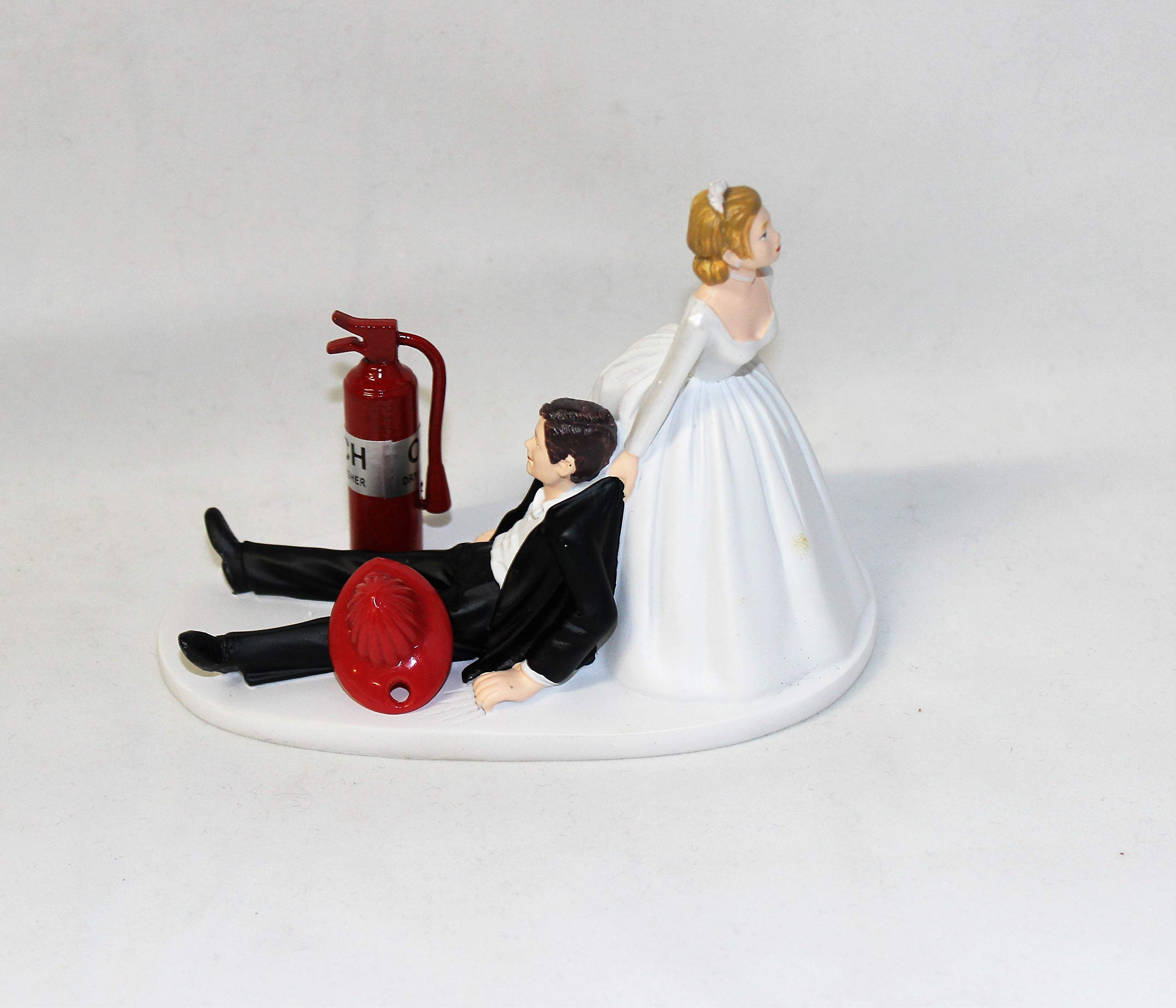 Wedding reception party humorous Fireman Firefighter Cake Topper by Custom Design Wedding Supplies by Suzanne (Image #1)