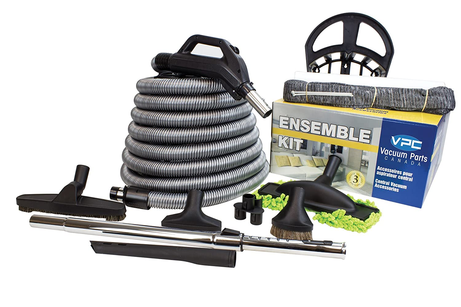 Central Vacuum Accessory Kit - Silver Hose - Telescopic Wand With Deluxe Tool Set - Handle with On/Off Button (30 feet) WITH BONUS Tools Vacuum Parts Canada