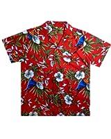 Original King Kameha | Funky Hawaiihemd | Herren | XS - 12XL | Kurzarm | Front-Tasche | Hawaii-Print | Kirschblüten Papagei Blätter | Rot