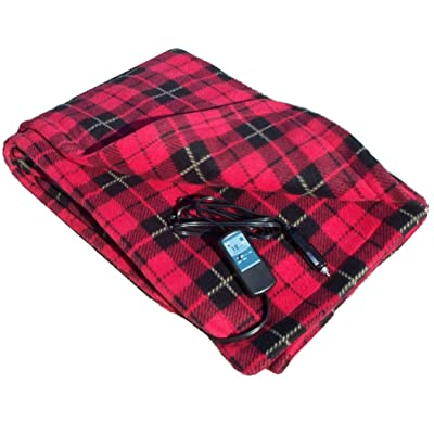 "Car Cozy 2 - 12-Volt Heated Travel Blanket (Red Plaid, 58"" x 42"") with Patented Safety Timer by Trillium Worldwide: Automotive"
