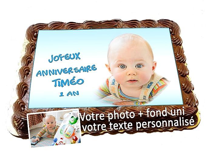 Gateau D Anniversaire Feuille Sucre Comestible Rect A4 20 Cm X 27 Cm Votre Photo Sur Gâteau Avec Votre Image Et Texte Fond Uni Assorti Photo