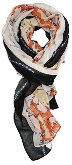Ted and jack travel the world map allover print scarf in white ted and jack travel the world map allover print scarf in white with black at amazon womens clothing store gumiabroncs Gallery