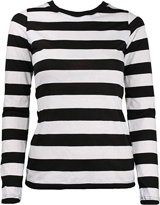 Largemouth Women's Long Sleeve Striped Shirt BlackWhite