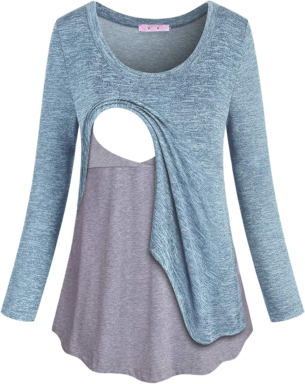 Joymom Maternity Long Sleeve Fake Two Pieces Nursing Tops Breastfeeding Shirts At Amazon Women S Clothing Store