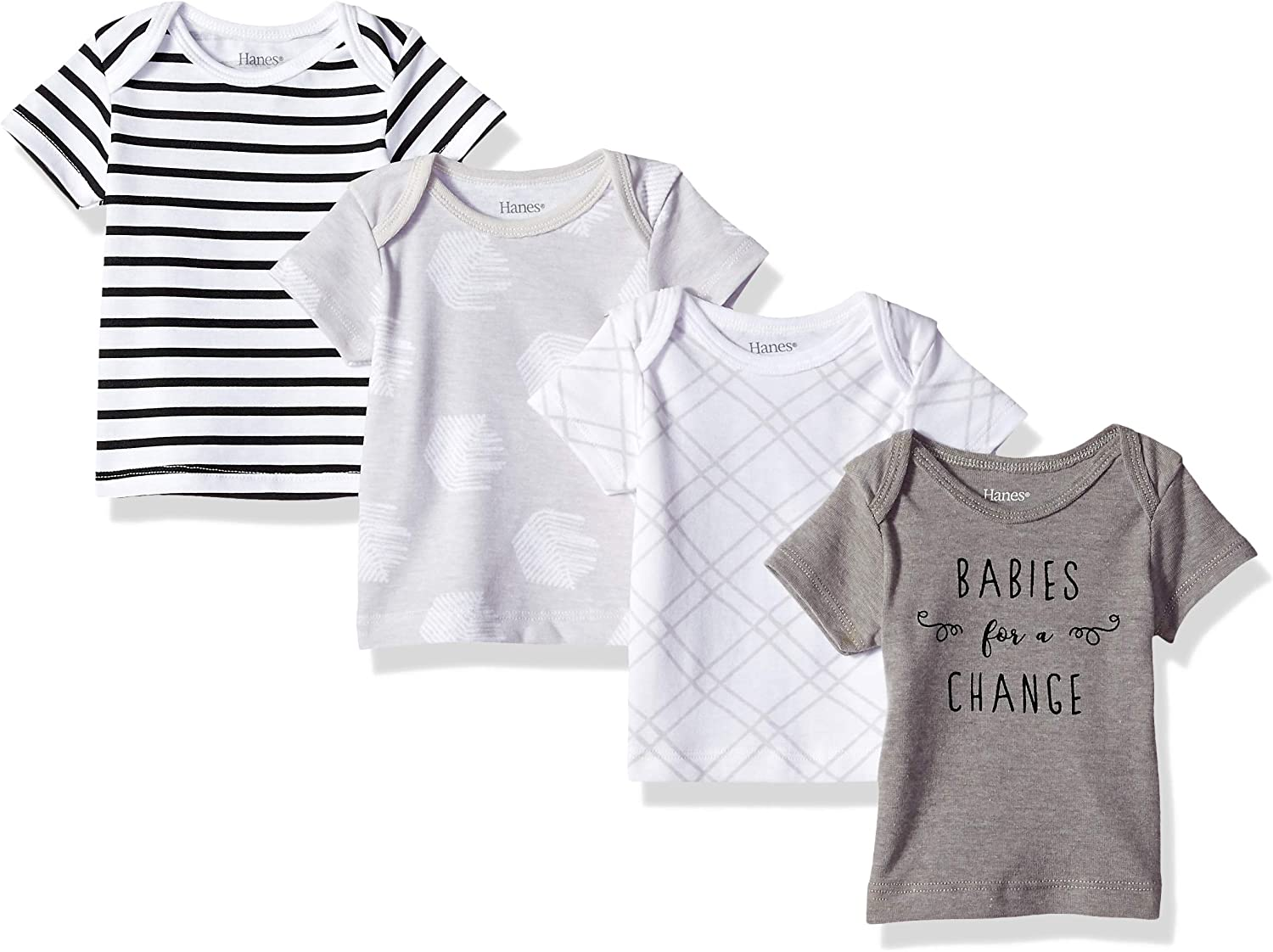 Hanes Ultimate Baby Flexy 4 Pack Short Sleeve Crew Tees Diamond White 12-18 Months