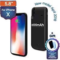 iPhone X Backup Battery Charger Protective Case, 6000mAh, 180% Extra, Fast-charging Power Bank. Light and Slim + Gift: Glass Screen Protector
