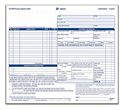 Amazoncom Adams Auto Repair Order Forms X Inch Part - Free auto repair invoice form create online store