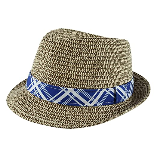 e02987dd226 Paek 2 Peak Unisex Kids Straw Trilby Fedora Cap Felt Fedora Hat Short Brim  Sunhat (