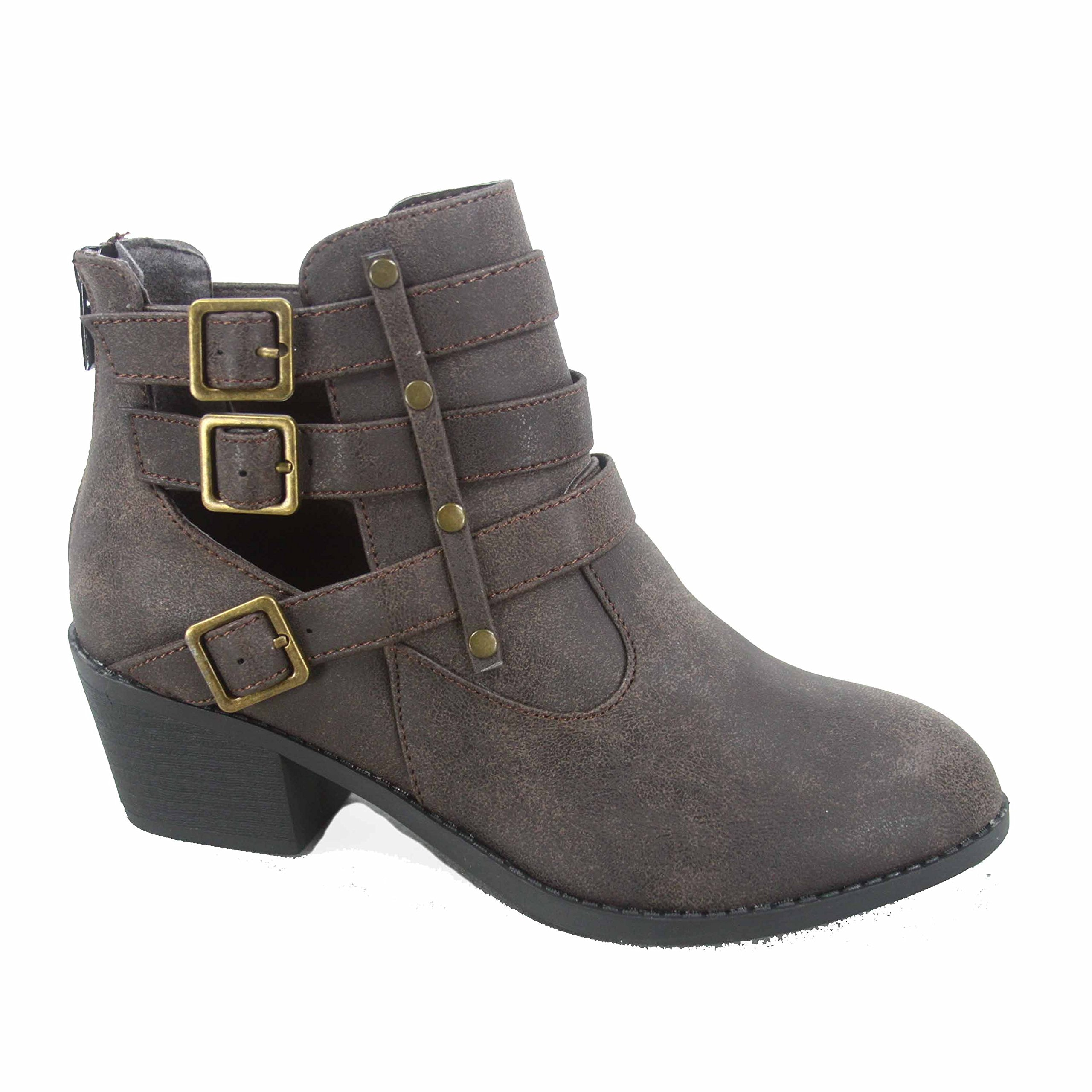 Forever Link Eury-1 Women's Fashion Round Toe Buckles Low Heel Ankle Booties Shoes,Brown,7.5