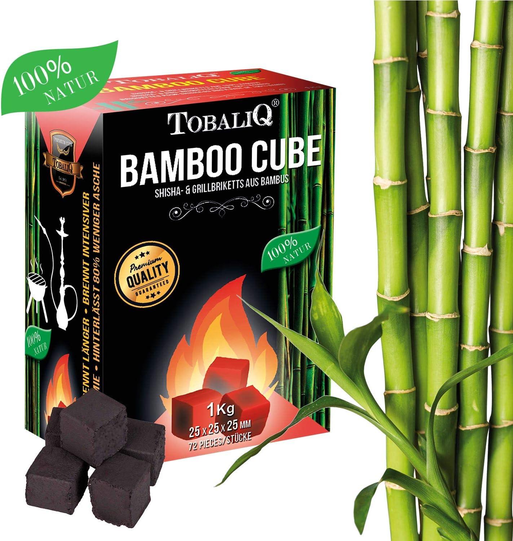 Tobaliq/® Shisha Kohle Bamboo Cube I 1 kg I Hochwertige Shisha Naturkohle Briketts aus Bambus I F/ür Wasserpfeife /& Grill geeignet I Extra Lange Brenndauer