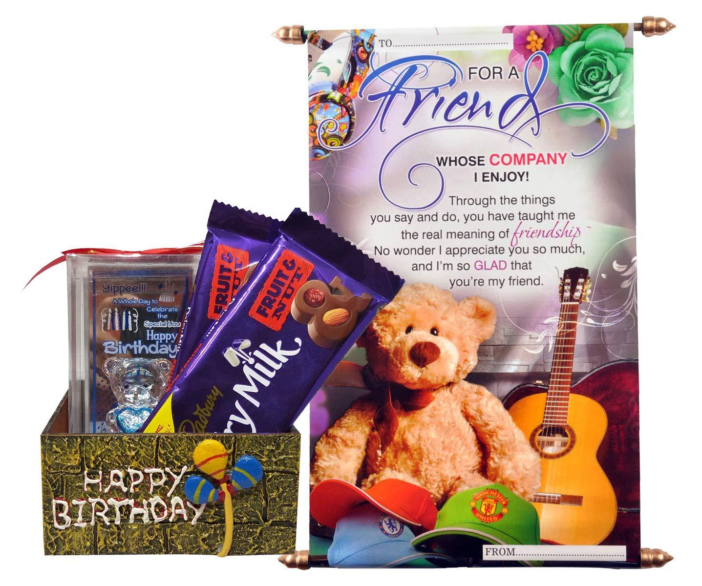 Saugat Traders Gift For Friend Scroll Card Birthday Teddy Showpiece Handmade Birthday Box With 2 Chocolates Birthday Gift Friend Best Friend Female Friend School Friend Amazon In Grocery Gourmet Foods