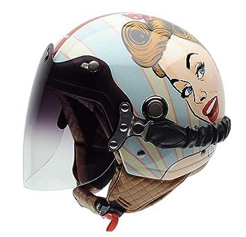 NZI Tonup Visor Graphics Casco De Moto(Chica Bonita,Grande)