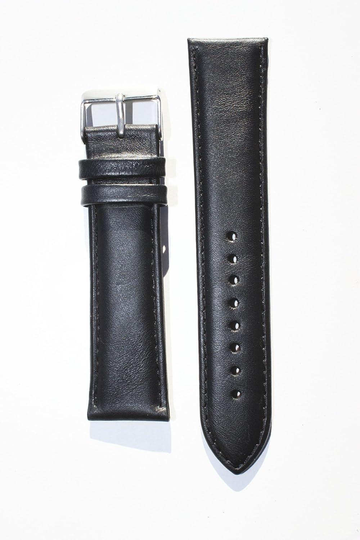 20 mmブラックoil-tanned Calfskinレザーバンドwith Heavyバックル  B00BHMI1WE