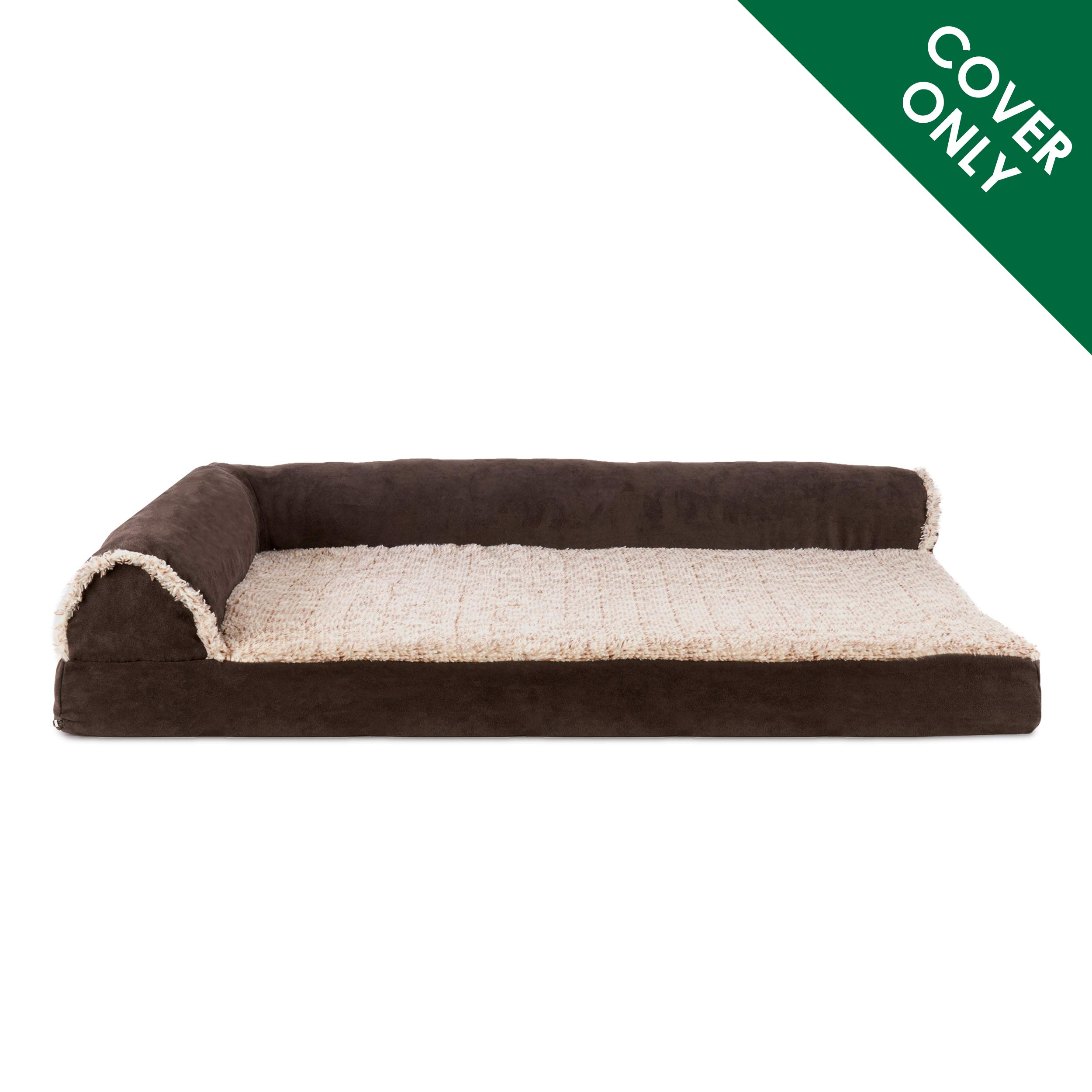 Furhaven Pet Dog Bed | Two-Tone Plush Faux Fur & Suede L Shaped Chaise Lounge Living Room Corner Couch Pet Bed Replacement Cover for Dogs & Cats, Espresso, Jumbo Plus by Furhaven