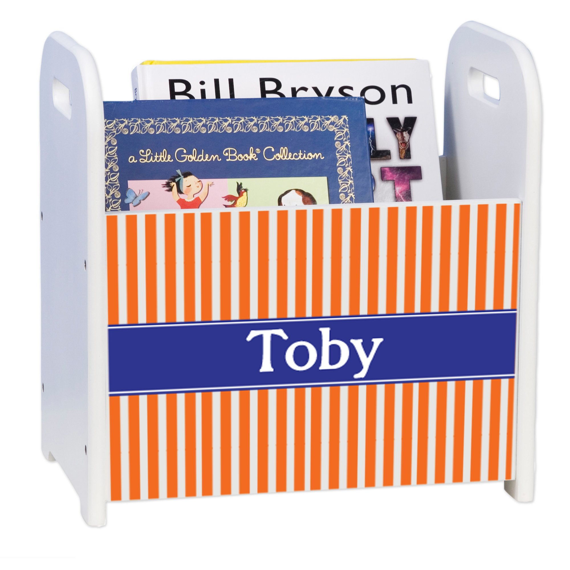 Personalized Orange Stripes with Blue White Book Caddy and Rack by MyBambino