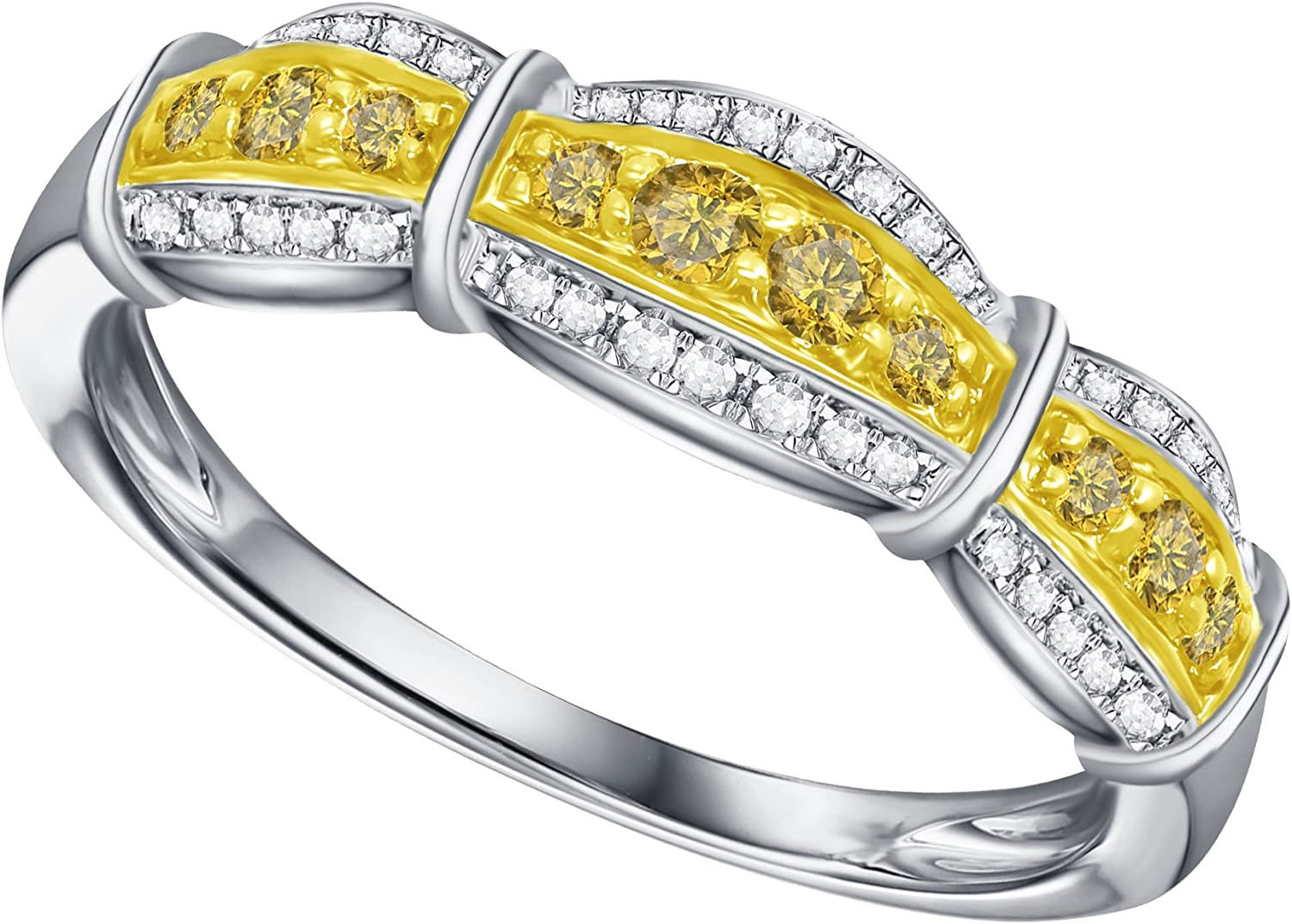 Prism Jewel 0.30Ct Round Yellow Diamond With Diamond Anniversary Ring