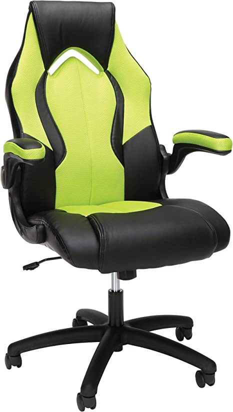 Amazon Com Ofm Ess Collection High Back Racing Style Bonded Leather Gaming Chair In Green Ess 3086 Grn Furniture Decor