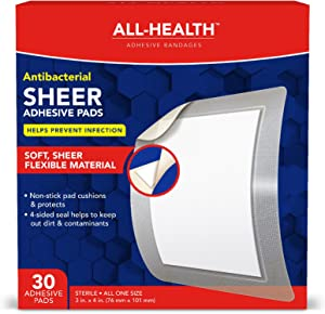 All-Health Antibacterial Sheer Adhesive Pad Bandages, 3 in x 4 in, 30 ct | Helps Prevent Infection, Extra Large Comfortable Protection for First Aid and Wound Care