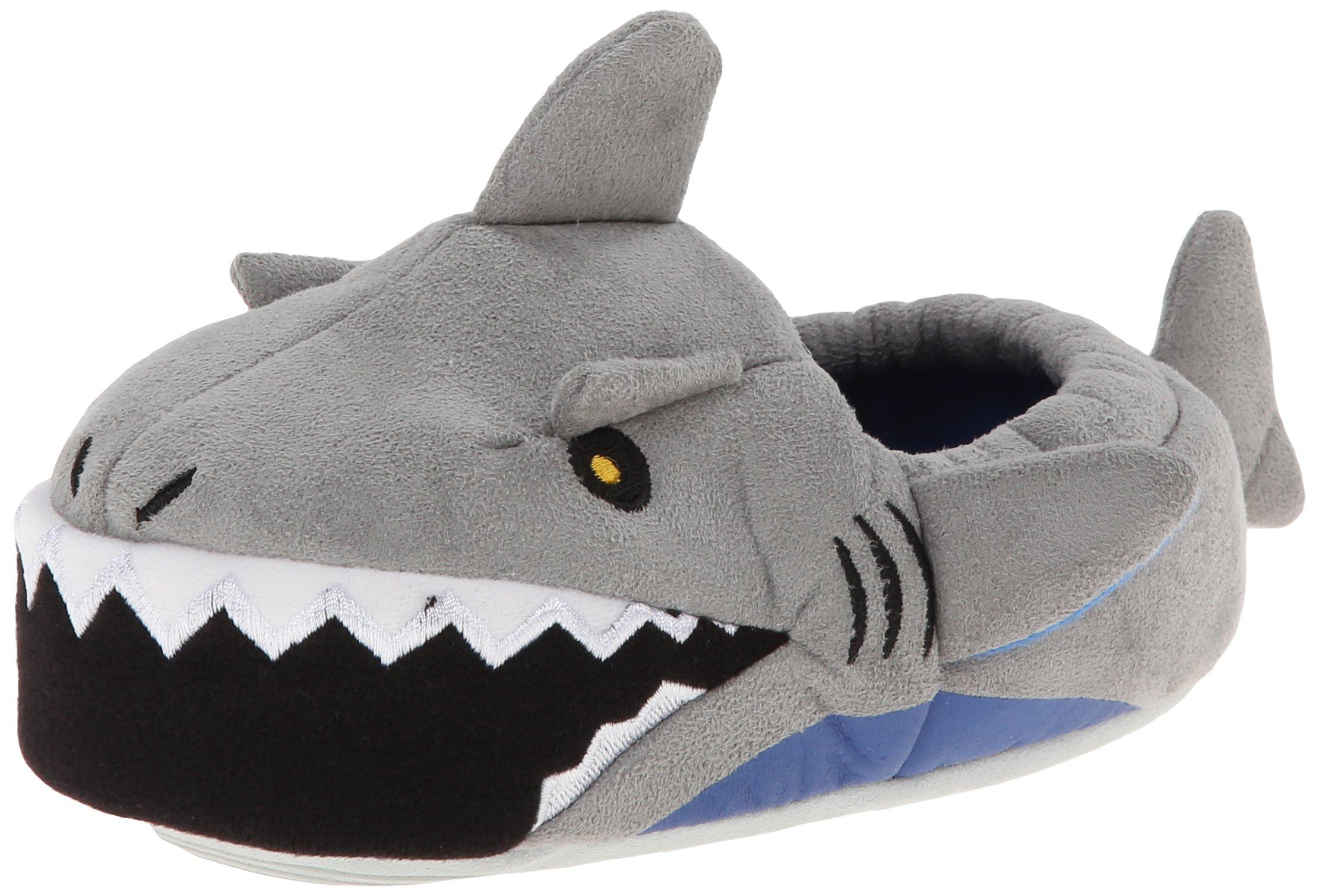 Stride Rite Boy's Light-Up Mouth Shark Slipper, Grey, 13-1 M US Little Kid