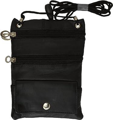 Black Leather Passport Document Handbag ID Card Neck Trap Cross Body Bag