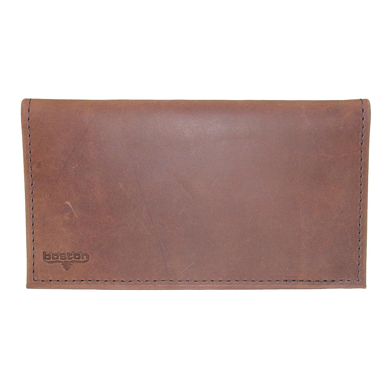 Boston Leather Distressed Copper Explorer Leather Checkbook Cover, Brown