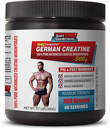 Muscle Enhancer Supplements – German CREATINE – 100 Pure MICRONIZED CREATINE MONOHYDRATE – German creatine Powder – 1 Can 300 Grams 60 Servings