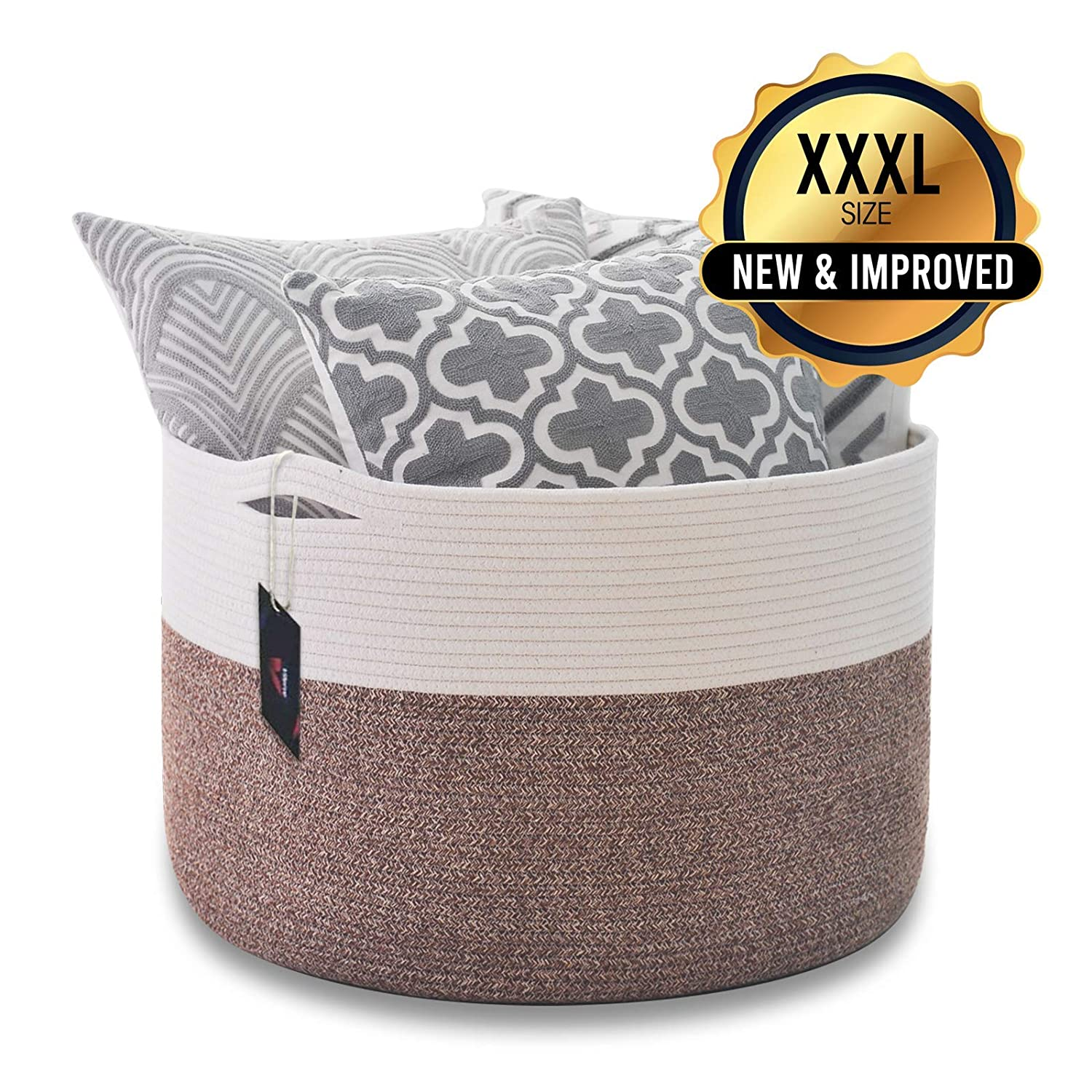 Vilerve XXXL Cotton Rope Basket Woven Storage Basket 22 x13.8 Round Simple Basket Extra-Large Toy Nursery Basket Stylish Laundry Bin in Brown and White Durable and Sturdy Basket