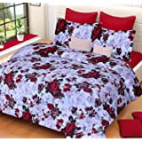 BRAND ZONE HUB 140 TC, 3D Printed Pattern Cotton Double Bedsheet with 2 Pillow Covers Set (Queen Size , Multicolour)
