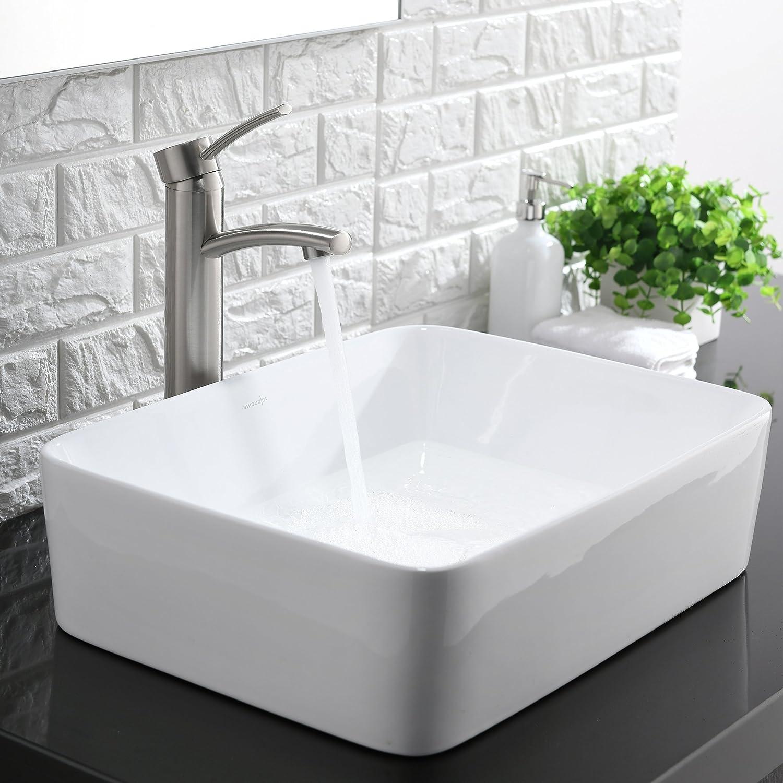 Comllen Above Counter White Porcelain Ceramic Bathroom Vessel Sink ...