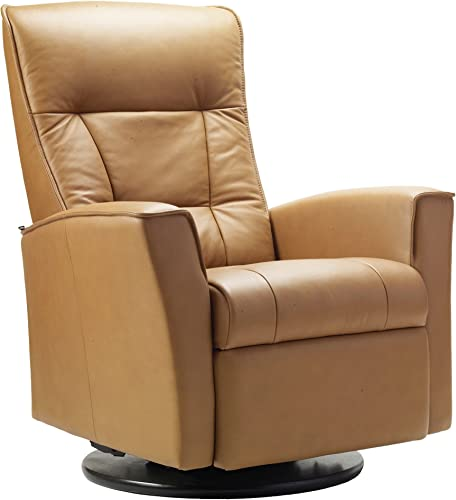 Fjords Ulstein Swing Relaxer Recliner Norwegian Ergonomic Scandinavian Lounge Reclining Chair Furniture Nordic Line Sandel Genuine Leather by Hjellegjerde Inside The Home Delivery and Setup