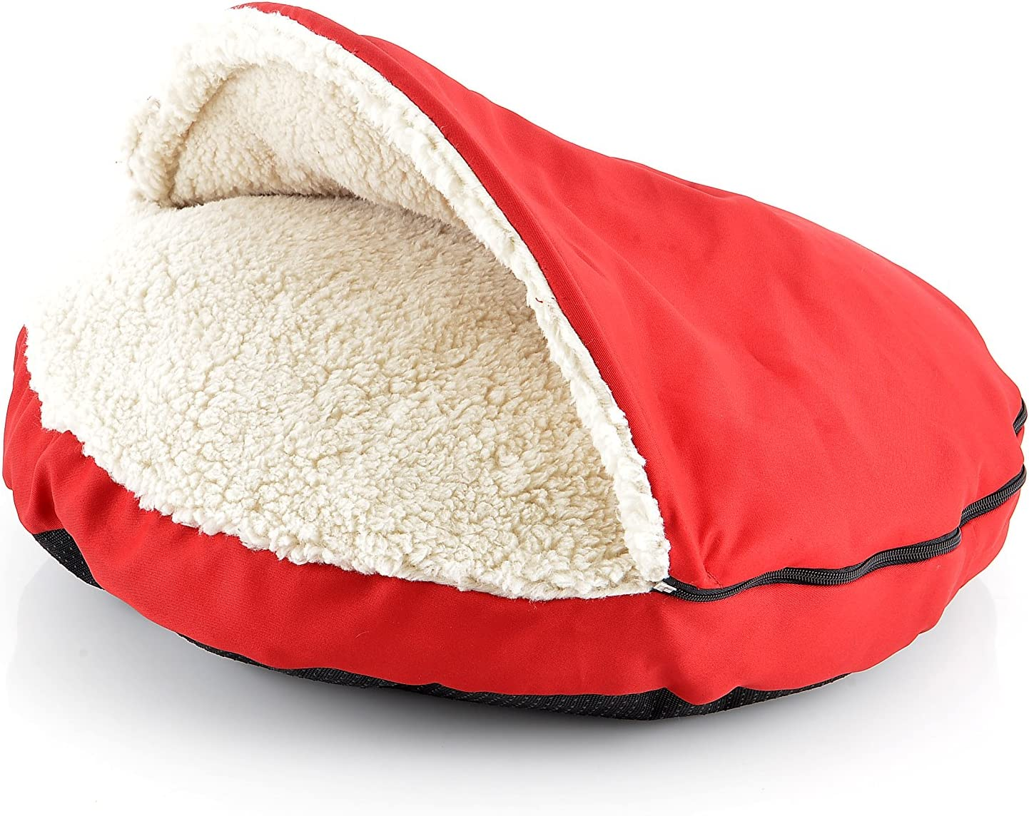 HappyCare Textiles Pet Cave and Round Pet Bed for Cats and Small Dogs, 25 by 4 , Red