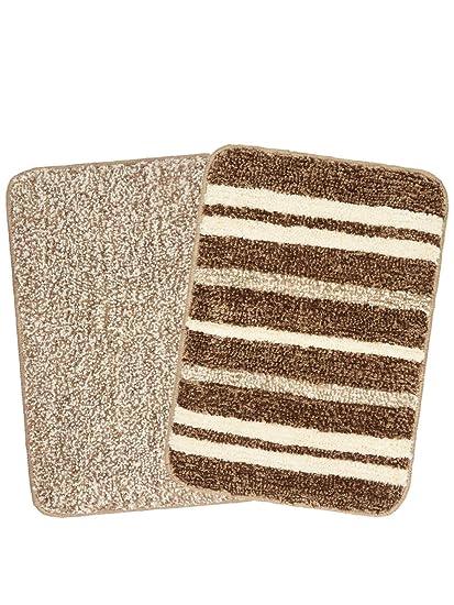 Saral Home Microfiber Anti Slip Bathmat Set of 2 Pc- 35x50 cm, Brown