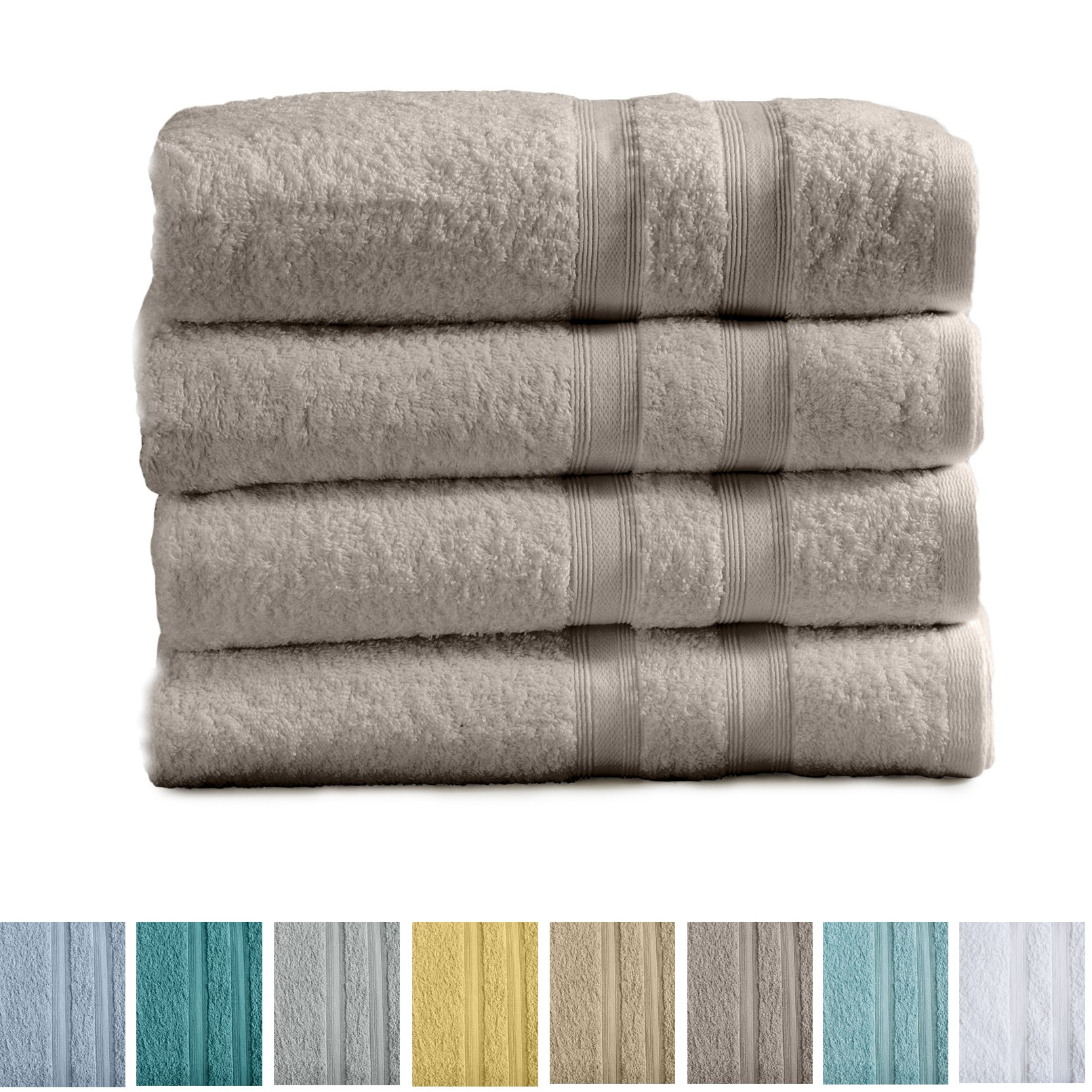 4-Pack Premium 100% Cotton Bath Towel Set (28 x 52 inch) Multipack For Home Spa Pool Gym Use. Quick-Drying and Extra Absorbent. Emelia Collection. (Silver Cloud)