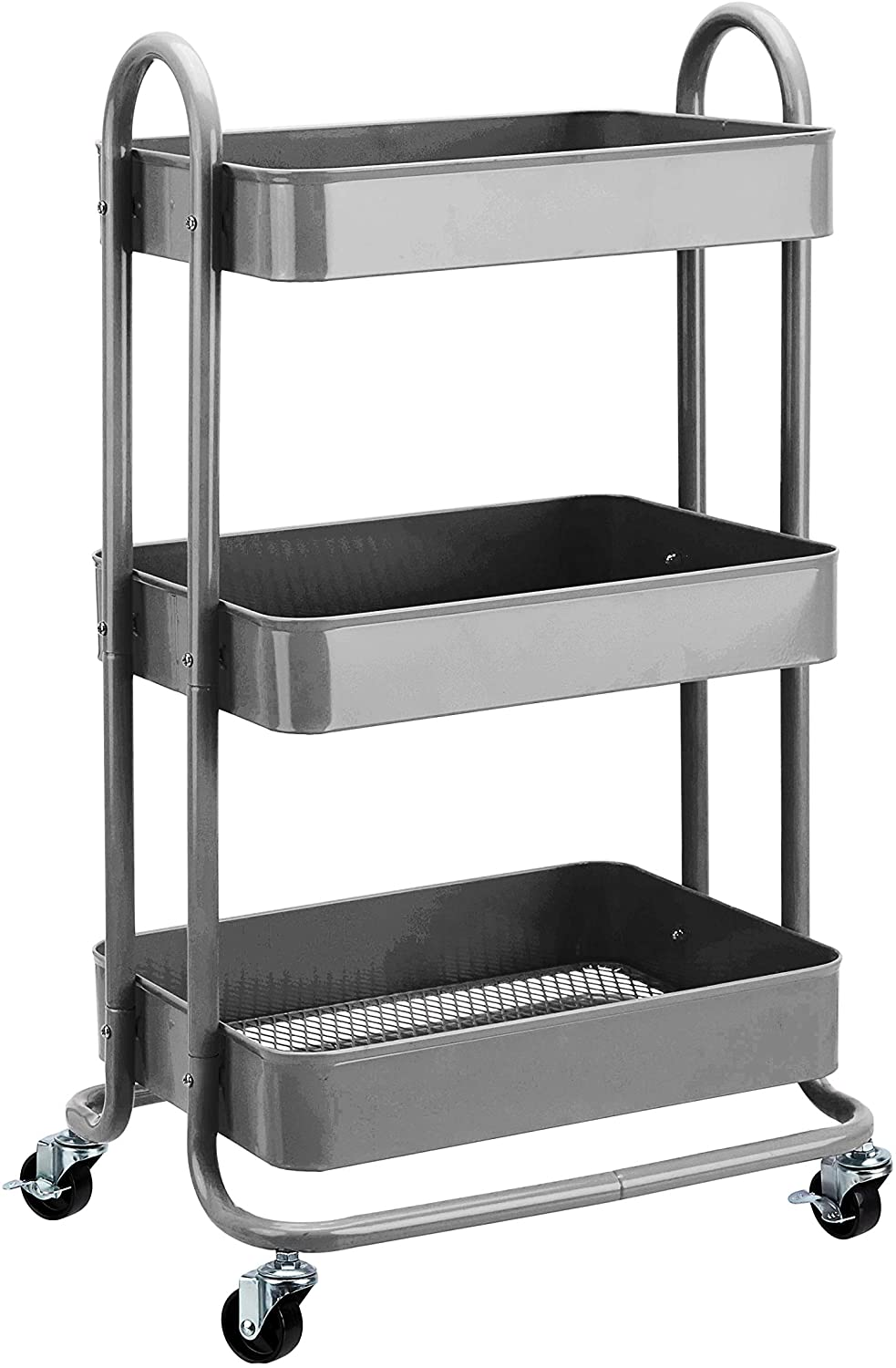 AmazonBasics 3-Tier Rolling Utility or Kitchen Cart - Charcoal