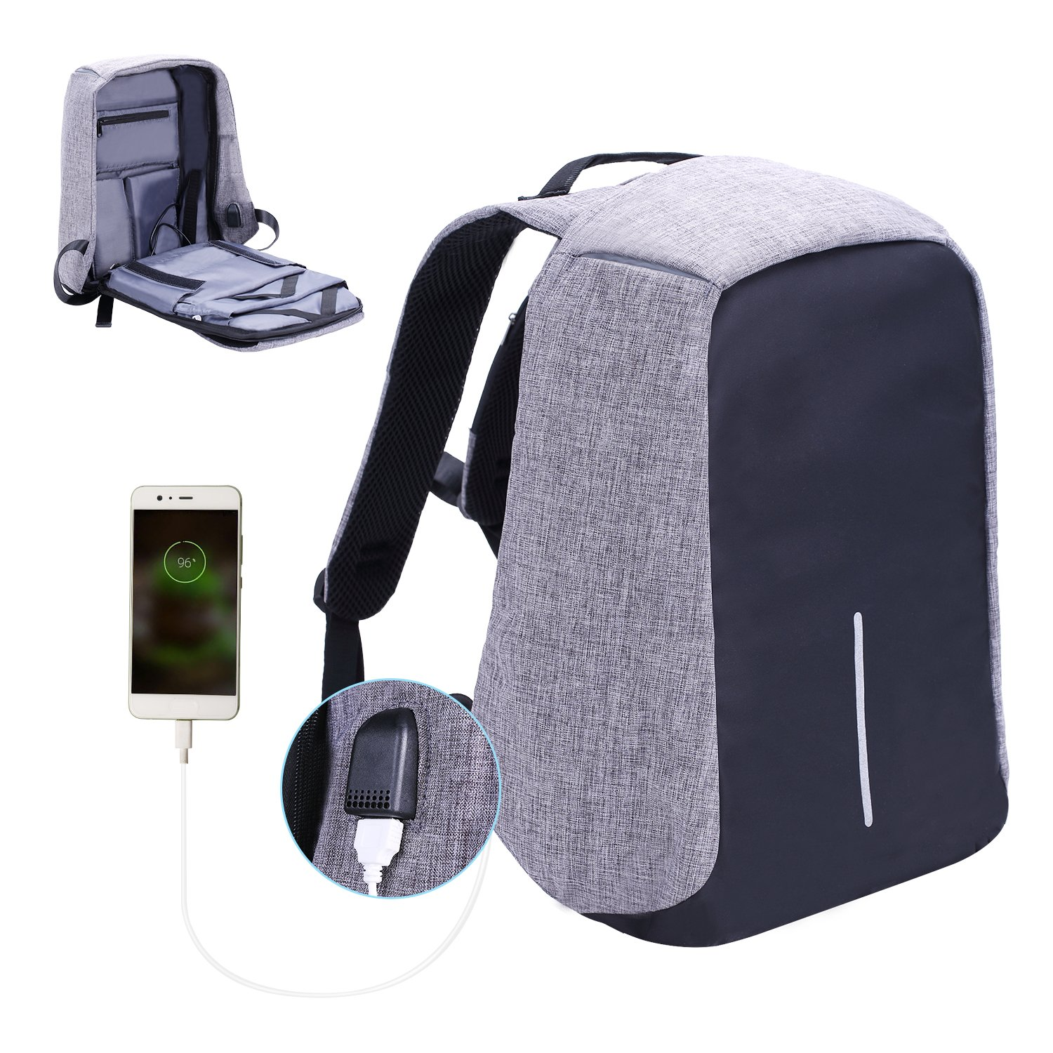 Laptop Backpack, Lightweight Water Resistant Computer Backpack with USB Charging Port Large Capacity for Travel,Business