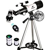 Gskyer Telescope, Travel Scope, 70mm Aperture 400mm AZ Mount Astronomical Refractor Telescope for Kids Beginners - Portable Travel Telescope with Carry Bag, Smartphone Adapter and Wireless Remote (Color: AZ 70400, Tamaño: AZ 70400)
